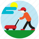 cap, cloud, gardener, jobs, lawnmower, mow, sun icon