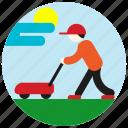 cap, cloud, gardener, jobs, lawnmower, mow, sun