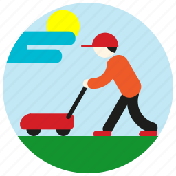 cap, cloud, gardener, jobs, lawnmower, mow, sun icon
