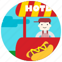 food, hotdog, jobs, park, seller, stand