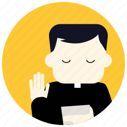 hand, jobs, priest, read, religion icon