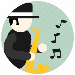 hat, jobs, music, notes, preformer, saxophone icon
