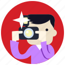 camera, flash, jobs, man, photographer icon