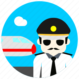 cloud, glasses, hat, jobs, pilot, plane, tie icon