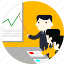 business, chart, jobs, lines, presentation, suit icon