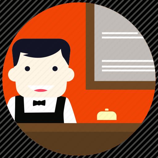 bell, bowtie, jobs, reception, receptionist, uniform icon