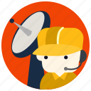 cap, headset, jobs, satellite, technician icon