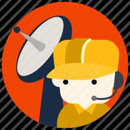 cap, headset, jobs, satellite, technician icon