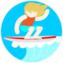 hair, jobs, ocean, sea, surfboard, surfer, waves icon