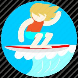 hair, jobs, ocean, sea, surfboard, surfer, waves icon
