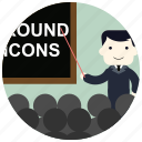 blackboard, crowd, group, jobs, pointer, teacher icon