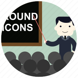 blackboard, crowd, group, jobs, pointer, teacher icon