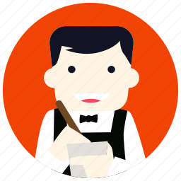 bowtie, jobs, notepad, pen, restaurant, waiter icon