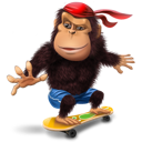 gorilla, skateboard icon