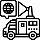 antenna, truck, mobile, news, broadcasting icon
