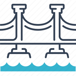bridge, journey, river, road icon