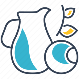 blueberries, drink, juice icon