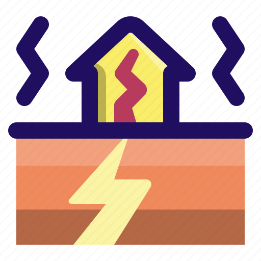 cracked, disaster, earthquake, house, vibration icon