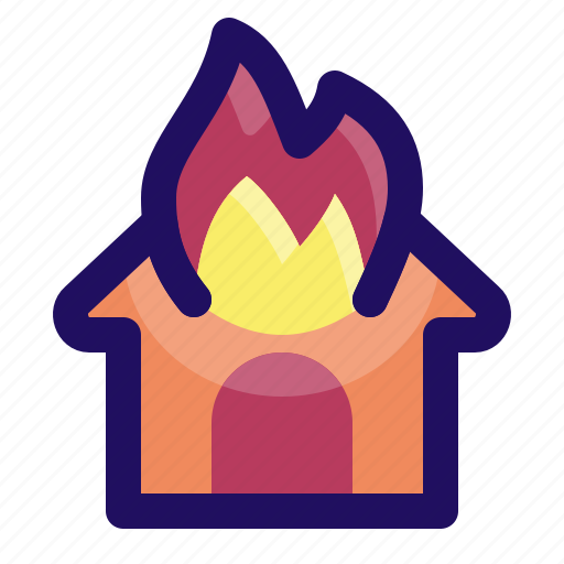 burn, disaster, fire, flame, home, house icon