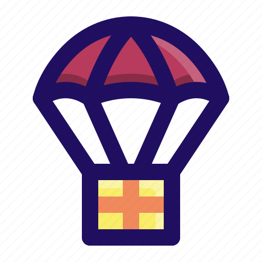 airdrop, army, delivery, military, parachute, supply icon