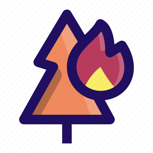 disaster, fire, forest, natural, tree, wood icon