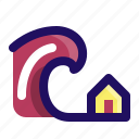 disaster, force, house, tsunami, water, wave icon
