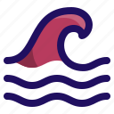 disaster, ocean, surf, tsunami, water, wave icon