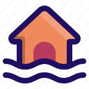 damage, disaster, flood, home, inundation, water icon