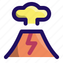 disaster, eruption, explosion, mountain, smoke, volcano icon
