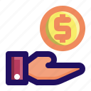 dollar, give, hand, income, loan, money icon