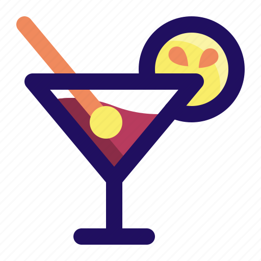 alcohol, cocktail, drink, glass, lemon, wine icon