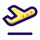 airplane, departure, flight, off, take, transportation, traveling icon