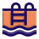 ladder, pool, stairs, swimming, water icon