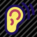 ear, hear, hearing, listen, sound, waves icon