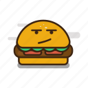 cartoon, emoji, emoticon, expression, fast food, hamburger icon