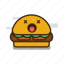 burger, cartoon, emoji, emoticon, expression, fast food, hamburger icon