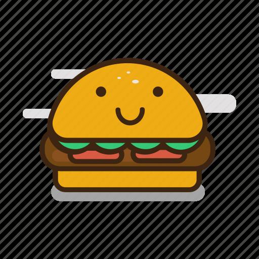 burger, cartoon, emoji, emoticon, expression, fast food, hamburger icon