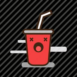 cartoon, emoji, emoticon, expression, fast food, soda, soft drink icon