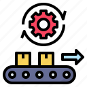automated, automatic, factory, machine, production icon