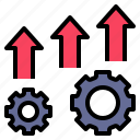 development, expand, growth, improve, process icon