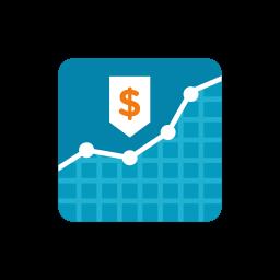 graph, money icon