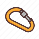 carabiner, climbing, hiking, rock climbing, rope icon