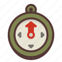 compass, direction, hiking, north, orienteering, outdoors icon