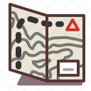 hiking, map, orienteering, outdoors, trail icon