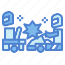 transportation, go kart, collision, accident, crash, car icon