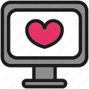 computer, cute, desktop, heart, kawaii icon