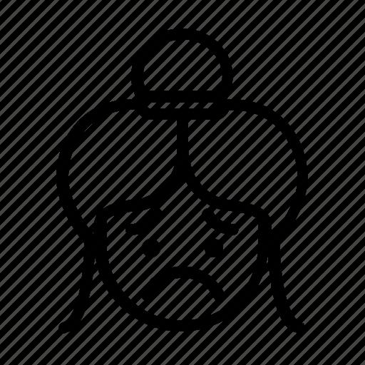 :(, asian bun, bun hair, kawaii, sad, unhappy, worried icon