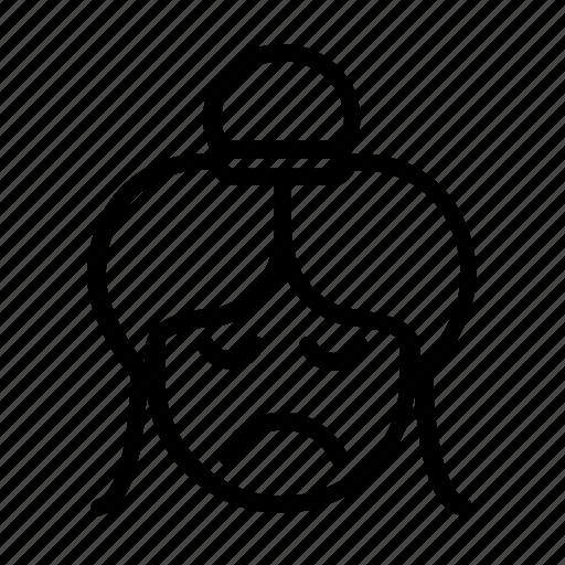 asian bun, bun hair, gloomy, kawaii, morose, sad, unhappy icon
