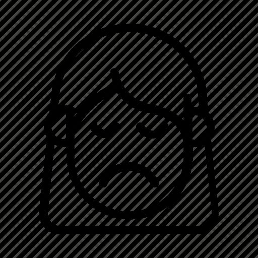 :(, cute girl, kawaii, mourn, mourning, sad, shut eye icon