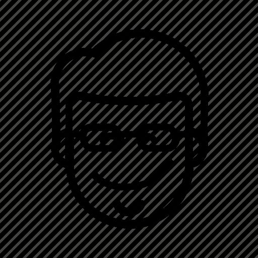 chin, coder, double chin, geek, glasses, kawaii, male icon